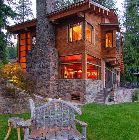 fachada de casa moderna de campo en madera y piedra para la chimenea - Fachadas De Casas De Campo