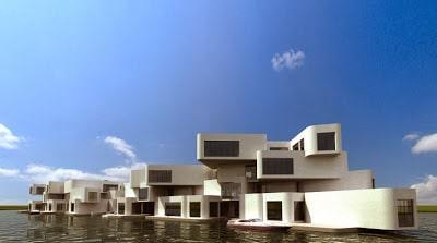 Fachada de edificio de departamentos flotante sobre el mar
