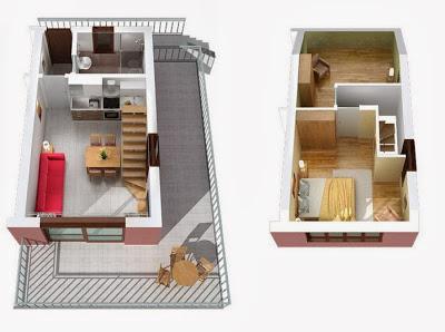 Departamento duplex en 3D departamentos