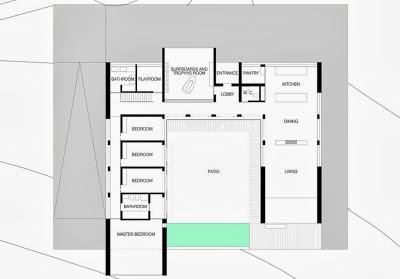Plano de la casa en forma de u, ubicado en colina