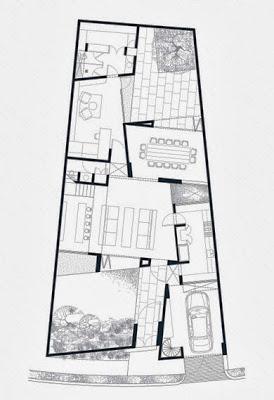 Plano de la primera planta terreno irregular