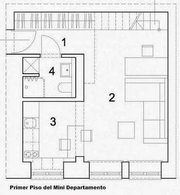 Dise o de departamento peque o de 29 metros cuadrados for Crear habitacion 3d online