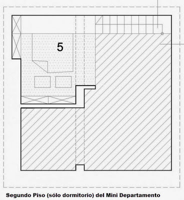 Segundo piso de minidepartamento de 29 metros cuadrados