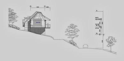Dibujo de casa en el montaña con sus medidas