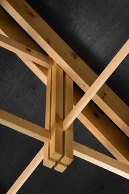 Detalle de entramado de estructura de madera