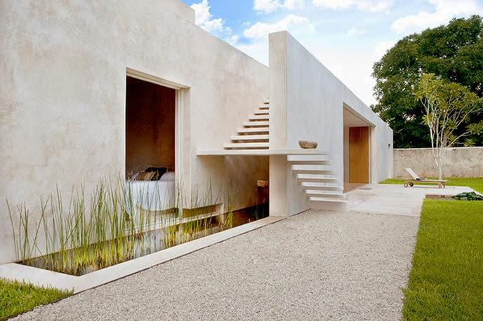 Dise o de moderna casa hacienda con paredes hormig n for Casa moderna hormigon