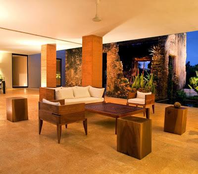 Diseño de interiores de sala de casa hacienda