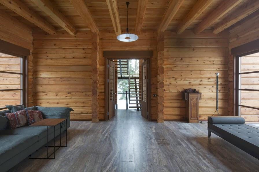 Dise o de casa de madera de tres pisos m s planos fachada for Pisos para interiores tipo madera