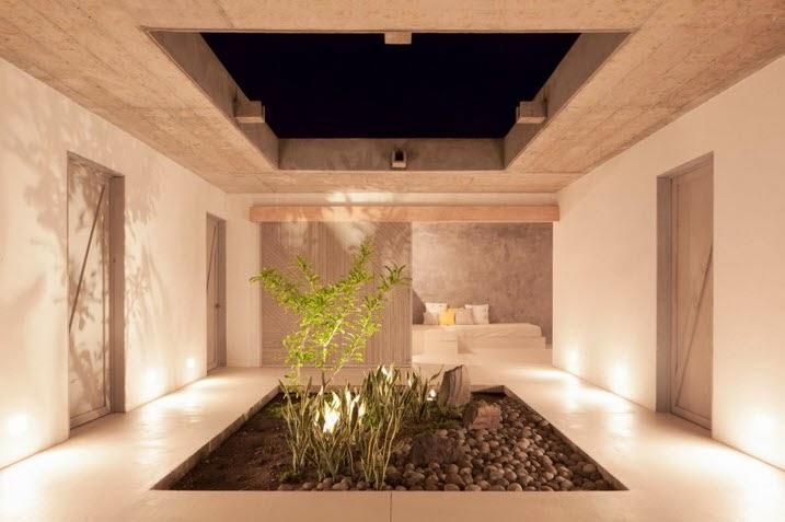 Dise o de moderna casa de playa hecha de madera bamb y - Diseno patio interior ...