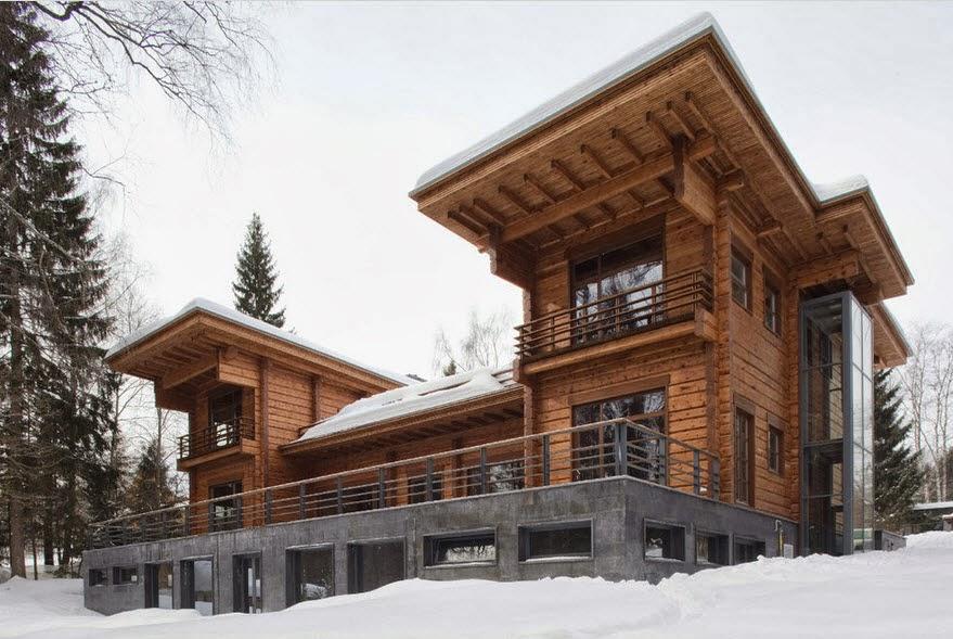 Dise o de casa de madera de tres pisos m s planos fachada for Tipos de disenos de interiores de casas