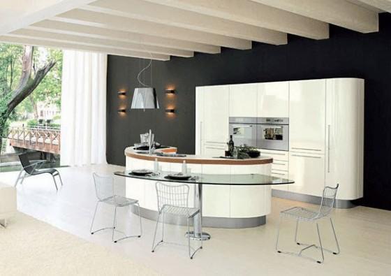 Isla de cocina semicircular