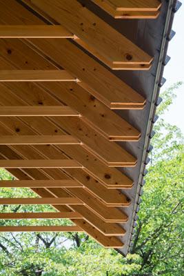 Volado de estructura de  techo de madera