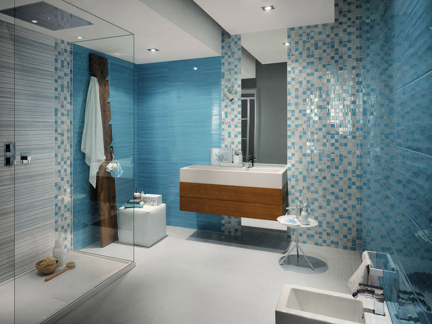 Azulejos para cuartos de baño color azul y celeste