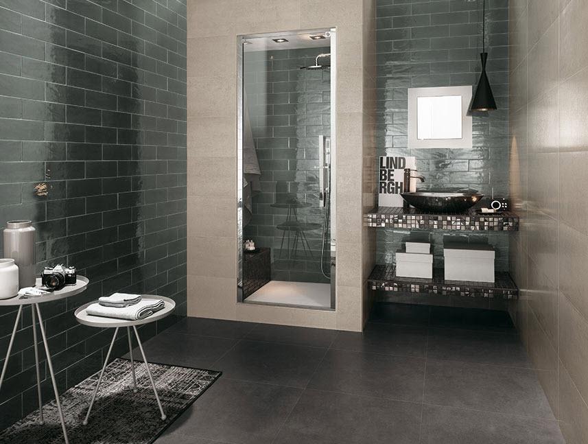 Cerámica par baño en forma de ladrillo color gris