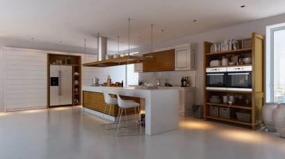 Diseño de cocina, pisos, encimeras y colores