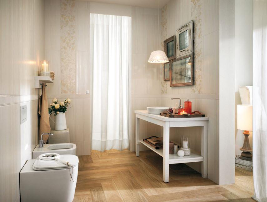 Cuarto de baño con diseño clásico de cerámicas