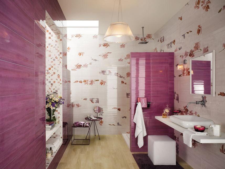 Diseño de cerámica cuarto de baño para señoritas