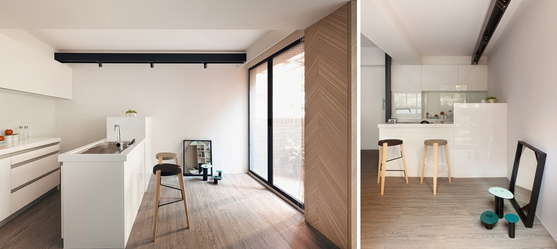 Dise o de peque o apartamento donde se m ximiza los for Decoracion minimalista para departamentos pequenos