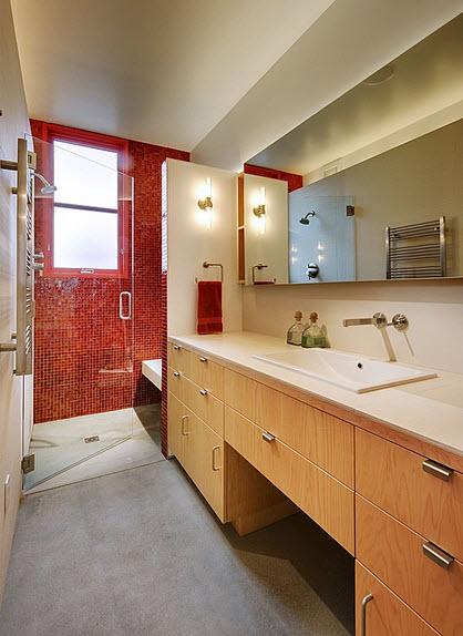 Diseño de cuarto de baño contraste de colores