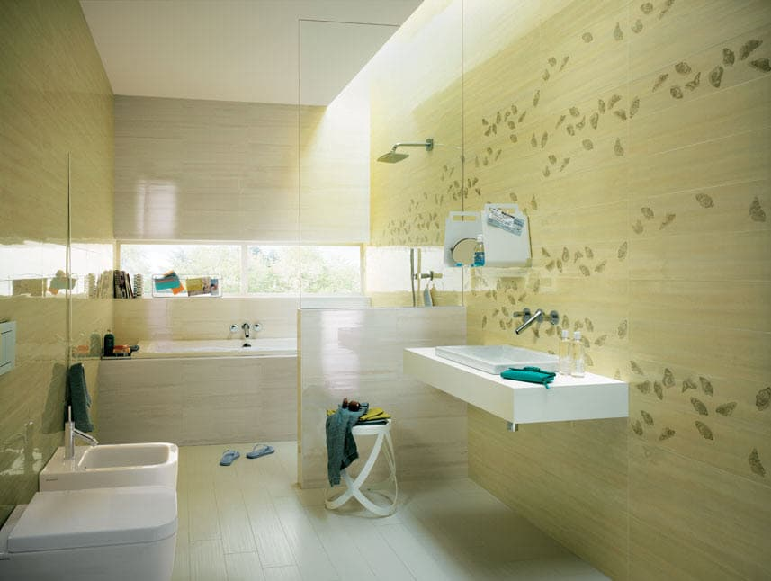 Diseño de cuarto de baño de cerámica verde