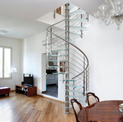 dise os de escalera en espiral o caracol de metal y madera