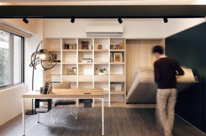 Diseño de mini apartamento, desplegando cama
