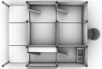 Diseño interior de pequeña casa reciclada