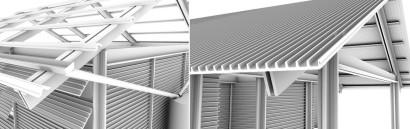 Tipo de paneles y techos en casa reciclada