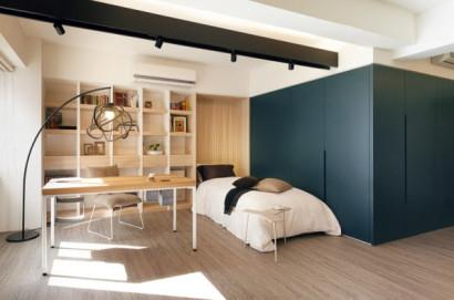 Vista del dormitorio estudio del mini apartamento