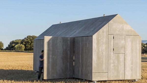 Peque a casa prefabricada de hormig n econ mica y for Techos de concreto para casas