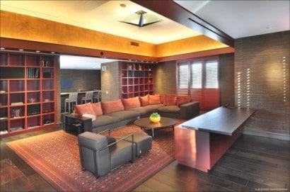 Diseño de biblioteca estudio de casa de lujo