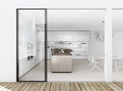 Diseño de cocina paredes color blanco minimalista