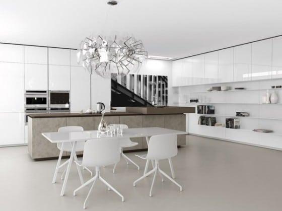 Diseño de cocina color blanco minimalista