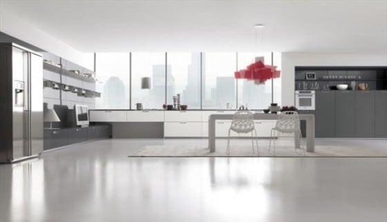 Cocina color gris y blanco sencilla brillante