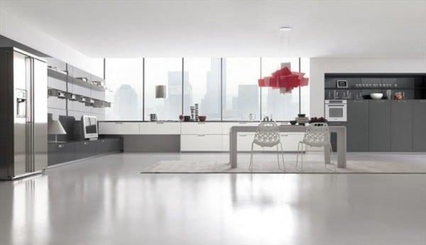 Dise o de cocinas modernas minimalistas fotos - Piso blanco y gris ...