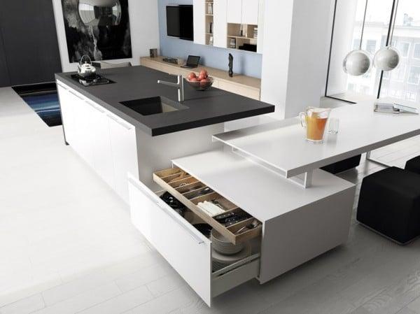 diseo de cocina gris y blanco con isla multifuncional minimalista - Cocina Minimalista