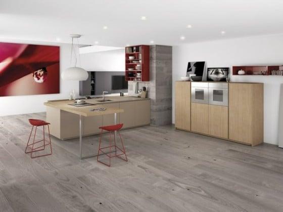 Diseño de cocina minimalista color gris con rojo 1