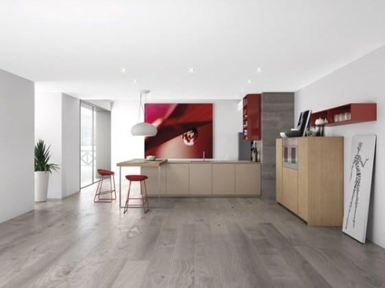 Diseño de cocina minimalista color gris en el piso con rojo paredes