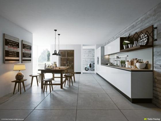 Diseño de cocina original con iluminación frontal