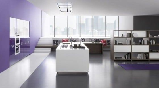 Diseño de cocina sencilla vista isla blanca