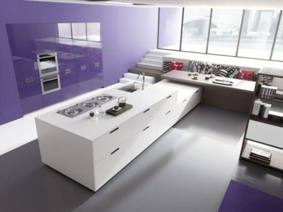 Diseño de cocina sencilla color violeta