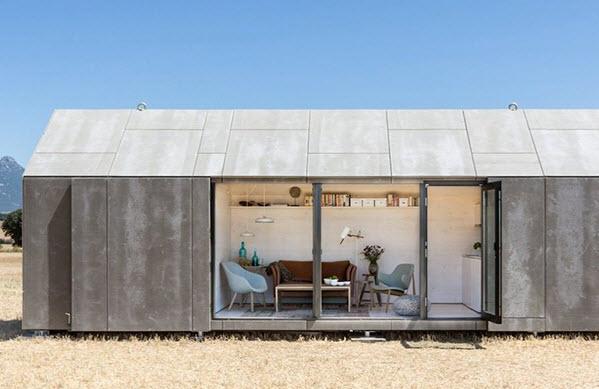 Peque a casa prefabricada de hormig n econ mica y - Casas de prefabricadas de hormigon ...