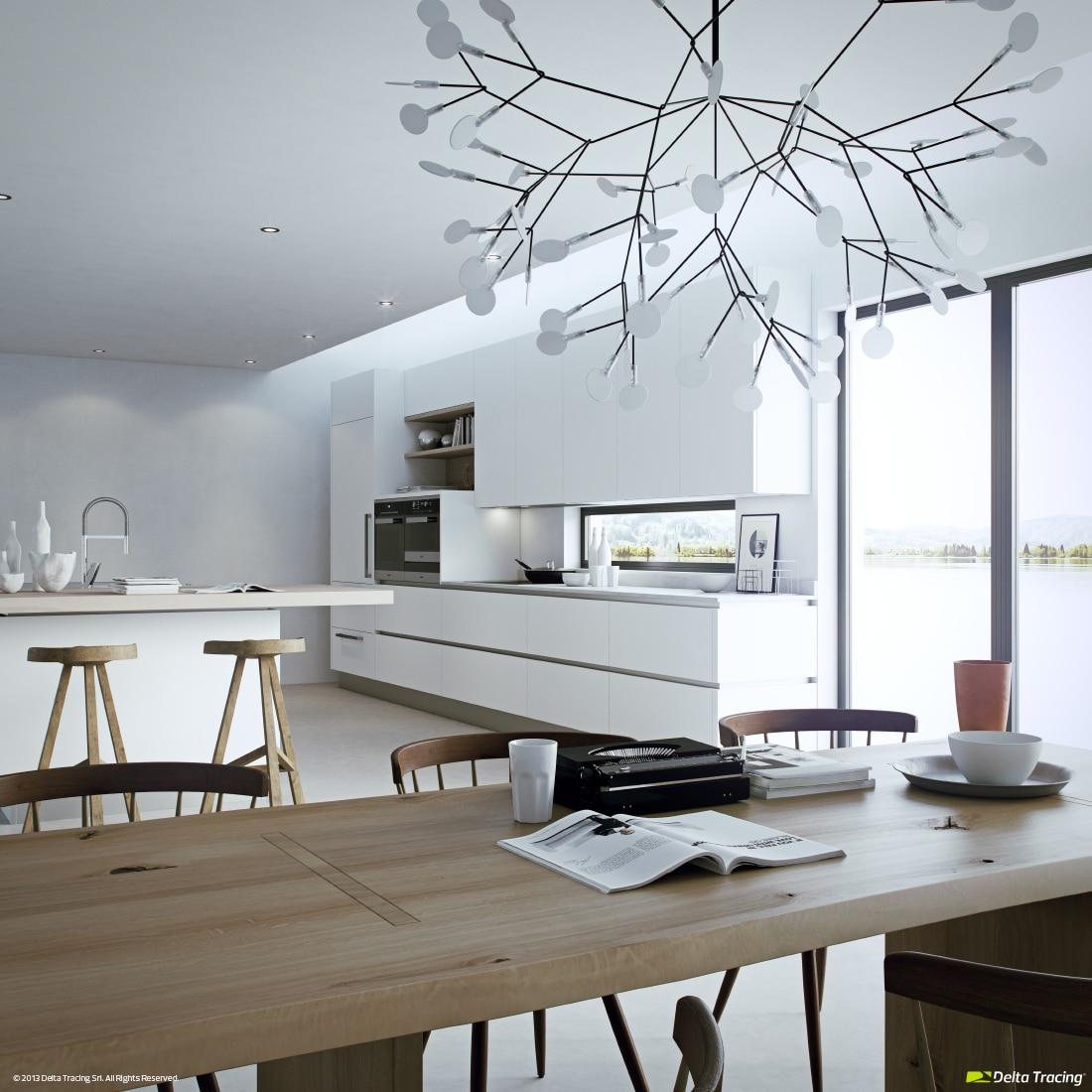 Dise o de cocinas modernas iluminaci n de interiores - Lamparas colgantes para cocina ...