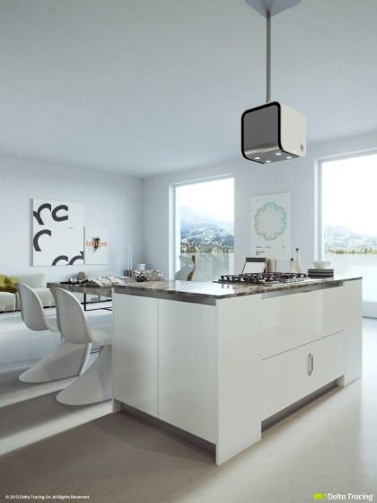 Iluminación de moderna cocina blanca