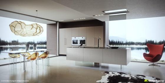 Iluminación natural y artificial de cocina