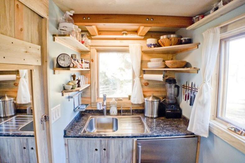 Dise o de peque a casa rodante de madera y dise o de for Lavatorio cocina