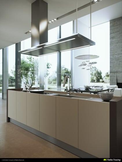 Moderna cocina bien iluminada