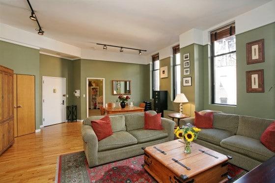 Diseño y decoración  de apartamento color verde