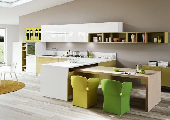 Diseño de cocina estilo arte pop en colores verdes