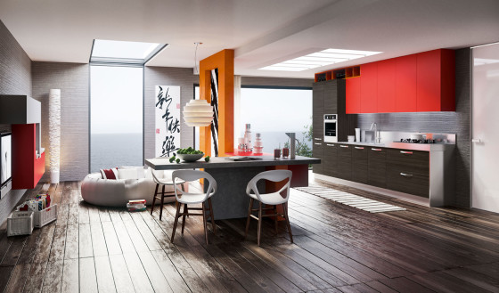 Cocina moderna color rojo y gris, perspectiva